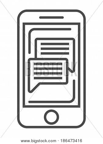 Online news on smartphone screen icon vector illustration isolated on white background. Social media and world news, network communication, mass media linear pictogram.
