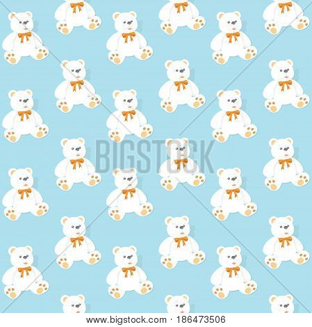 Seamless pattern with bears on a blue background.