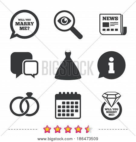 Wedding dress icon. Bride and groom rings symbol. Wedding or engagement day ring with diamond sign. Will you marry me speech bubble. Newspaper, information and calendar icons. Vector