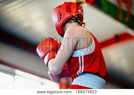 back young girls amateur boxer in ring fight boxing