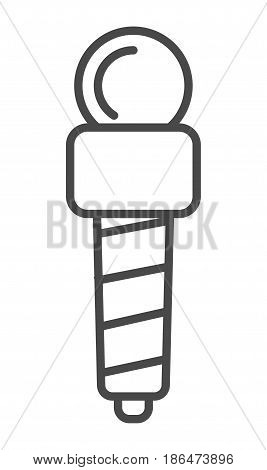Professional news microphone icon vector illustration isolated on white background. World breaking news, interview equipment, mass media linear pictogram.