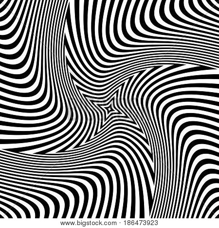 Rotation Torsion Illusion. Abstract Op Art Design.