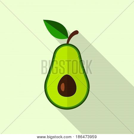 Avocado icon in flat style with long shadow. Vector illustration.