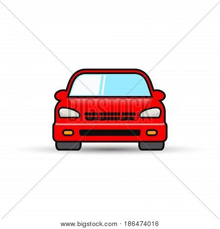 Car front view icon color symbol. Vector illustration. Flat design.