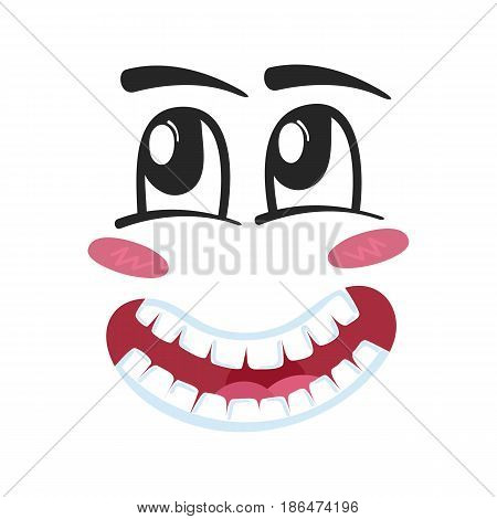 Dreaminess emoji emoticon or smiley face character. Funny facial expression, cute comic face isolated vector illustration.