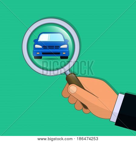 Hand with magnifier search a car vector illustration. Find car concept.