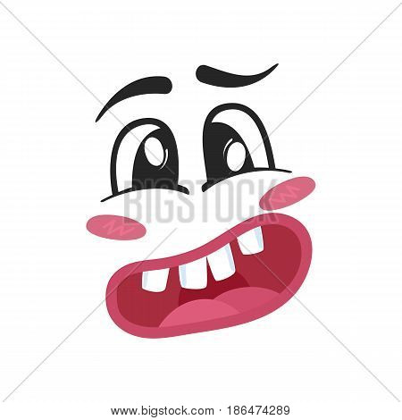 Surprise emoji emoticon or smiley face character. Funny facial expression, cute comic face isolated vector illustration.