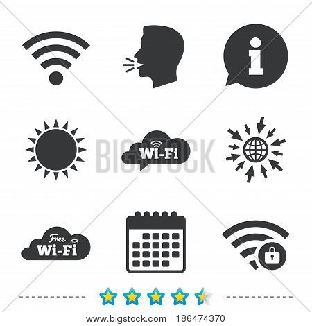 Free Wifi Wireless Network cloud speech bubble icons. Wi-fi zone locked symbols. Password protected Wi-fi sign. Information, go to web and calendar icons. Sun and loud speak symbol. Vector