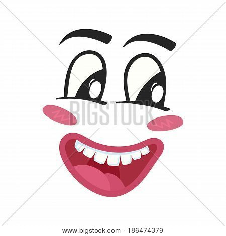Cheerful emoji emoticon or smiley face character. Funny facial expression, cute comic face isolated vector illustration.