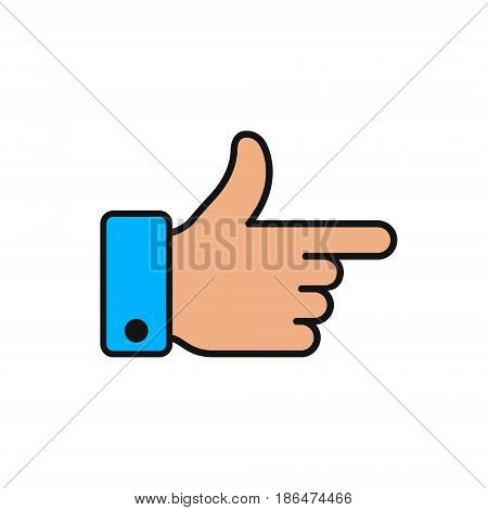 Forefinger direction color flat icon. Gesture hand with pointing forefinger. Vector symbol.