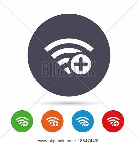 Wifi plus sign. Add Wi-fi symbol. Wireless Network icon. Wifi zone. Round colourful buttons with flat icons. Vector