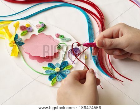Decorate With Strips Of Paper, Quilling .hands Child While Creative Work Making Decorations By Quill