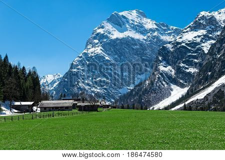 Amazing mountain scenery with rugged mountains in the early springtime Austria Tyrol Karwendel Alpine Park near Falzthurn