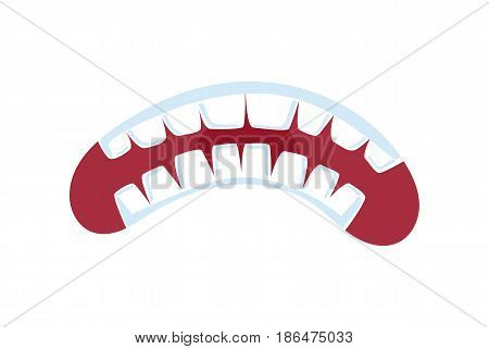 Fury comic mouth with teeth isolated vector illustration. Funny emoji emoticon expression cartoon icon on white.