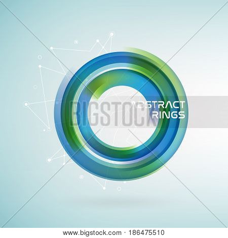 Technology circle with data lines. Blue and green colors abstract background. Vector illustration.