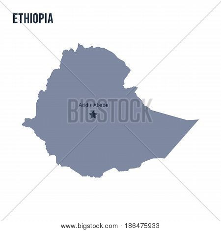 Vector map of Ethiopia isolated on white background. Travel Vector Illustration.