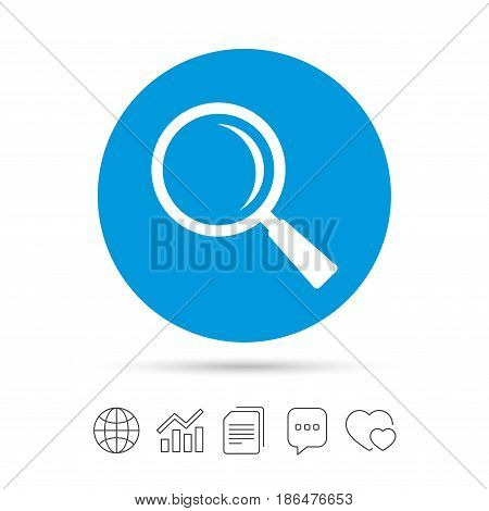 Magnifier glass sign icon. Zoom tool button. Navigation search symbol. Copy files, chat speech bubble and chart web icons. Vector