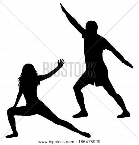 Silhouettes of man and woman practicing yoga on white background