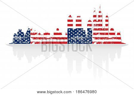 City skyline in colors of USA flag grunge style with shadow