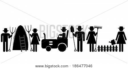 Set of farm farmer worker pictograms on white background