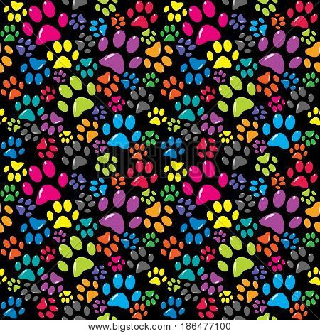 Colorful background with colored paws against black