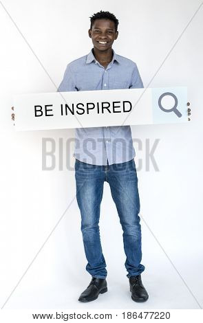 Man holding banner network graphic overlay