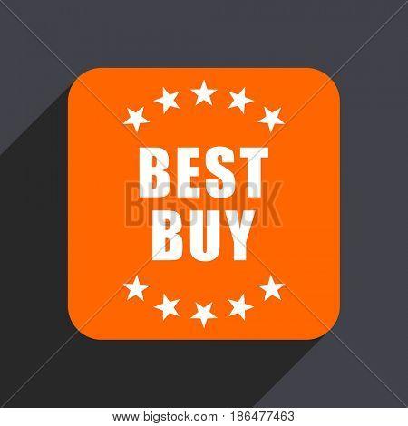 Best buy orange flat design web icon isolated on gray background