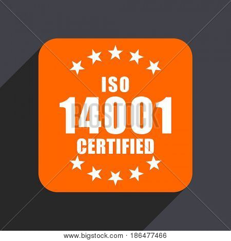 Iso 14001 orange flat design web icon isolated on gray background