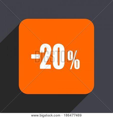 20 percent sale retail orange flat design web icon isolated on gray background