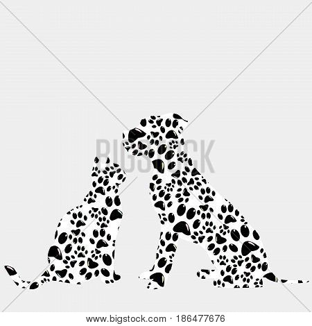 Silhouettes of cat and dog in paws pattern