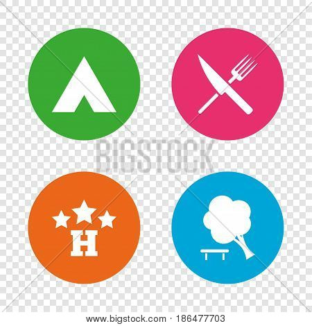 Food, hotel, camping tent and tree icons. Knife and fork. Break down tree. Road signs. Round buttons on transparent background. Vector