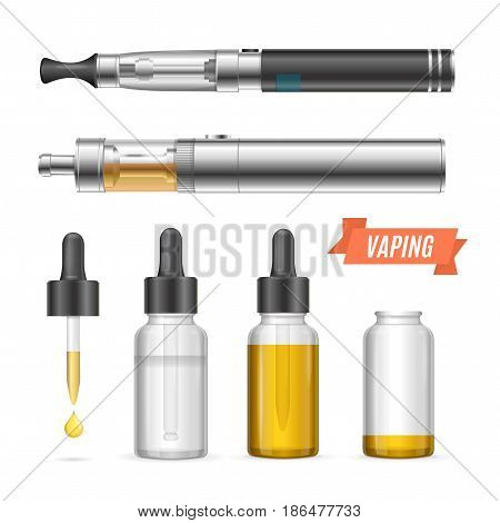 Realistic Trend Vaping Vaporizer Liquid Set Electronic Cigarette with Device Habit Equipment. Vector illustration