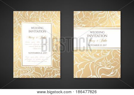 Vintage wedding invitation templates. Cover design with gold abstract ornaments. Vector traditional decorative backgrounds.