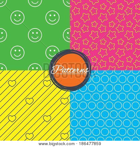 Stars, hearts and smile circles seamless textures. Linear geometric patterns. Modern textures. Abstract patterns with colored background. Vector