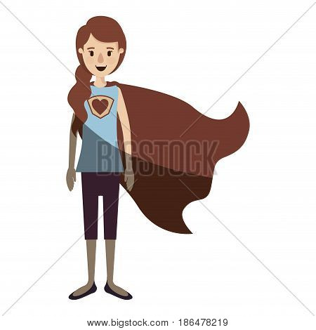 light color shading caricature full body super hero woman with ponytail hair and cap vector illustration