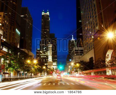 Chicago'S Michigan Ave At Night