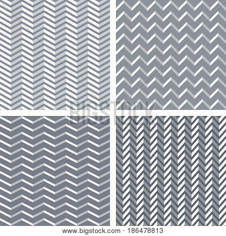 Seamless 3D Zigzag Patterns Set.