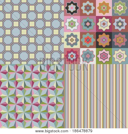 Set of vector seamless fabric or paper geometric patterns