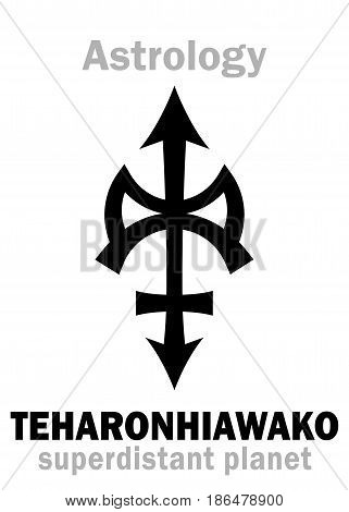 Astrology Alphabet: TEHARONHIAWAKO, super-distant trans-neptunian asteroid/planetoid. Hieroglyphics character sign (single symbol).