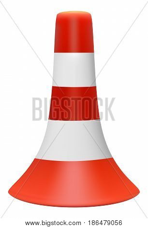 Vector 3D illustration of red traffic cone with white stripes on white background