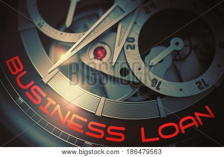 Business Loan - Black and White Close-Up of Pocket Watch Mechanism. Old Wristwatch Machinery Macro Detail and Inscription - Business Loan. Time and Business Concept with Lens Flare. 3D Rendering.