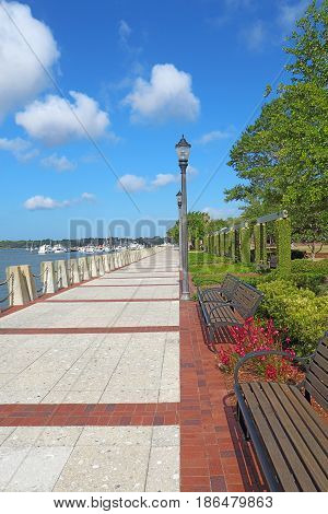 Promenade of the Henry C. Chambers Waterfront Park located south of Bay Street in the Historic District of downtown Beaufort South Carolina vertical