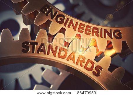 Engineering Standards on Mechanism of Golden Metallic Gears. Engineering Standards - Industrial Design. 3D Rendering.
