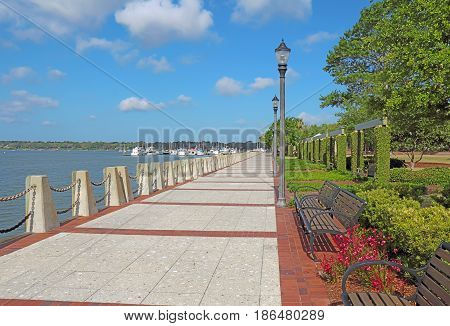 Promenade of the Henry C. Chambers Waterfront Park located south of Bay Street in the Historic District of downtown Beaufort South Carolina