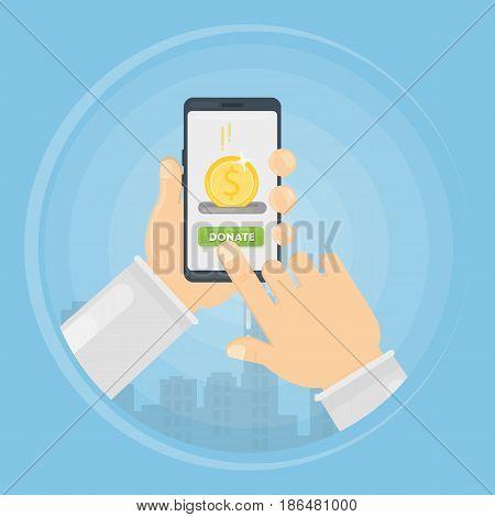 Money donation through smartphone concept illustration. Symbol charity.