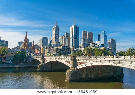 Melbourne Cbd Cityscape With Princess Bridge Over Yarra River