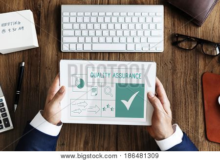Illustration of quality product warranty assurance on digital tablet
