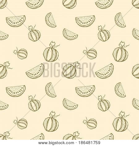 Seamless Vector Pattern. Hand Drawn Fruits Illustration Of Watermelon Line Drawing. Print For Wallpa