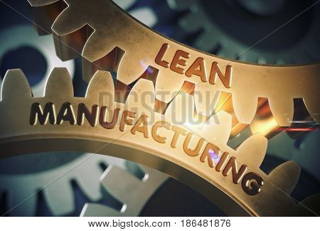 Lean Manufacturing - Illustration with Lens Flare. Golden Metallic Gears with Lean Manufacturing Concept. 3D Rendering.