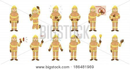 Fireman emoji set on the white background. Man in unifrom. Happy, angry or sad.